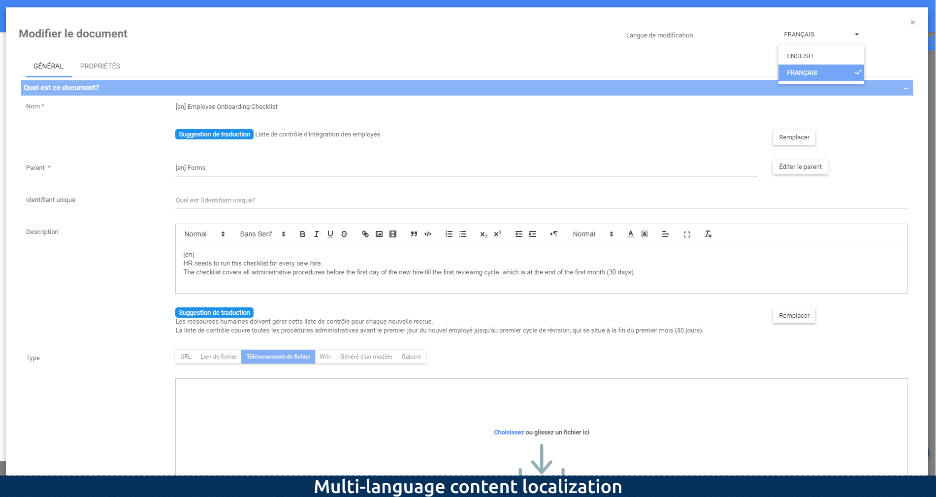 Multi-language content localization