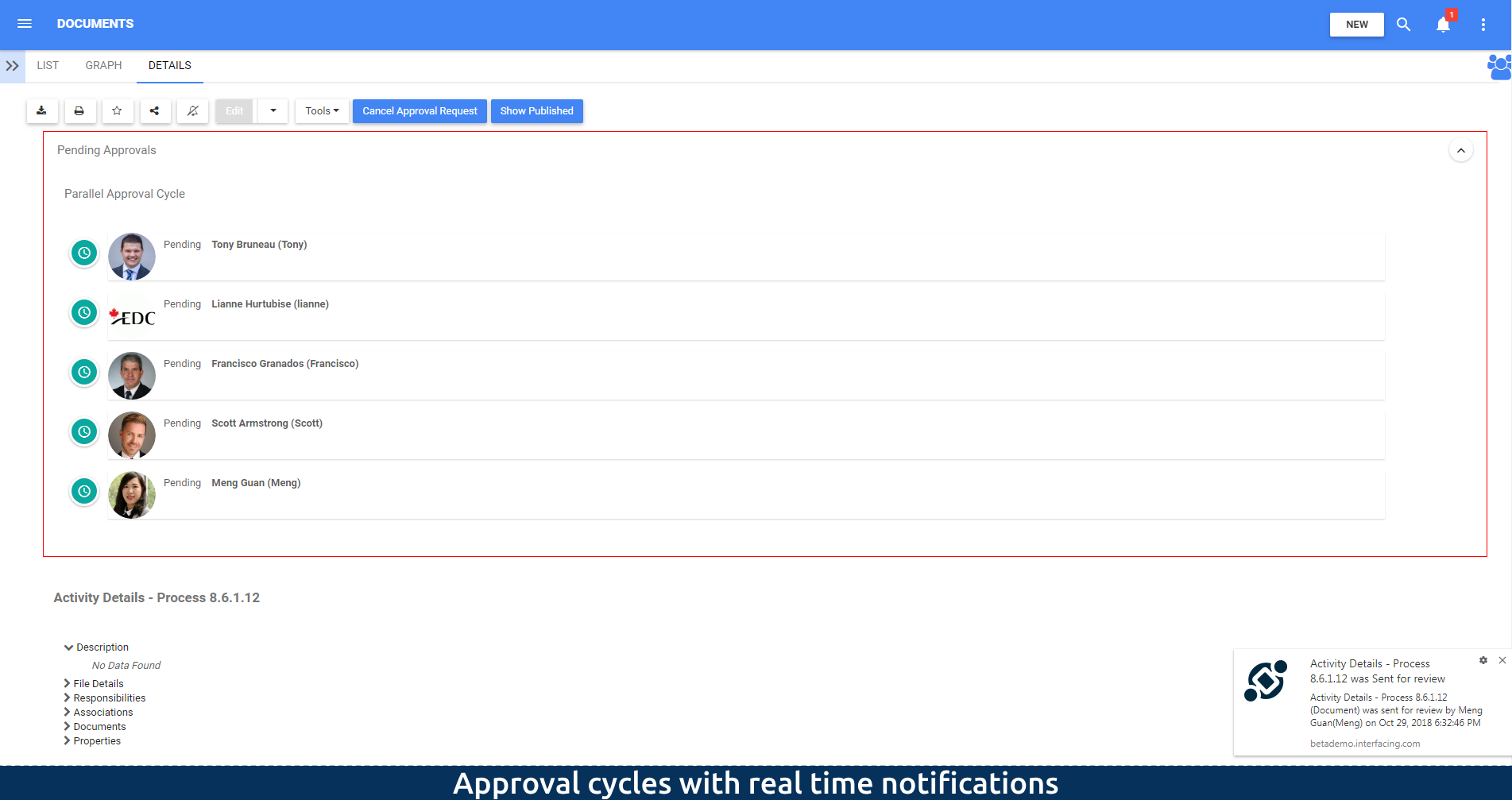 Approval cycles with notifications