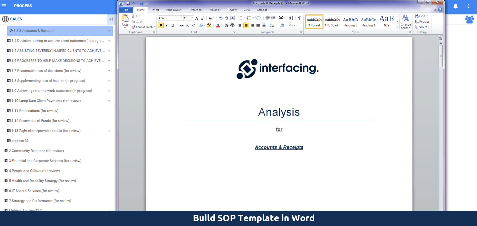 Build SOP template in word