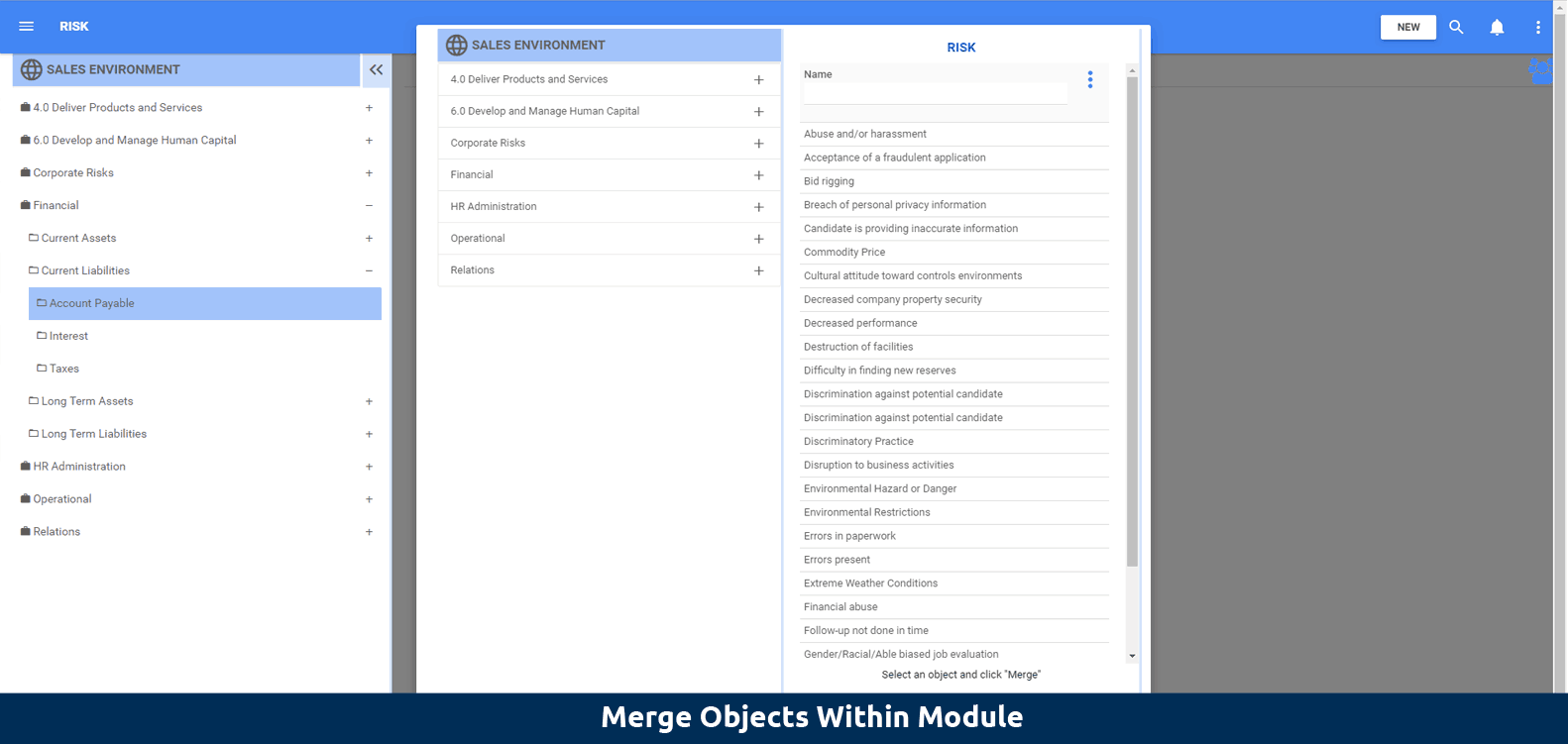 Merge objects within module