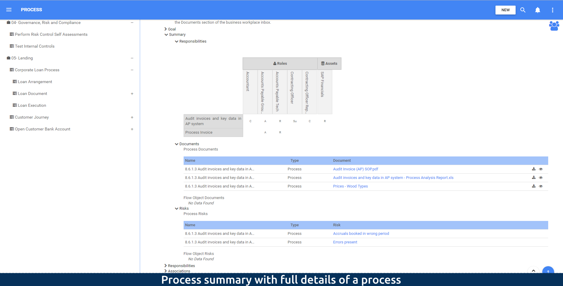 Process summary with full details of a process