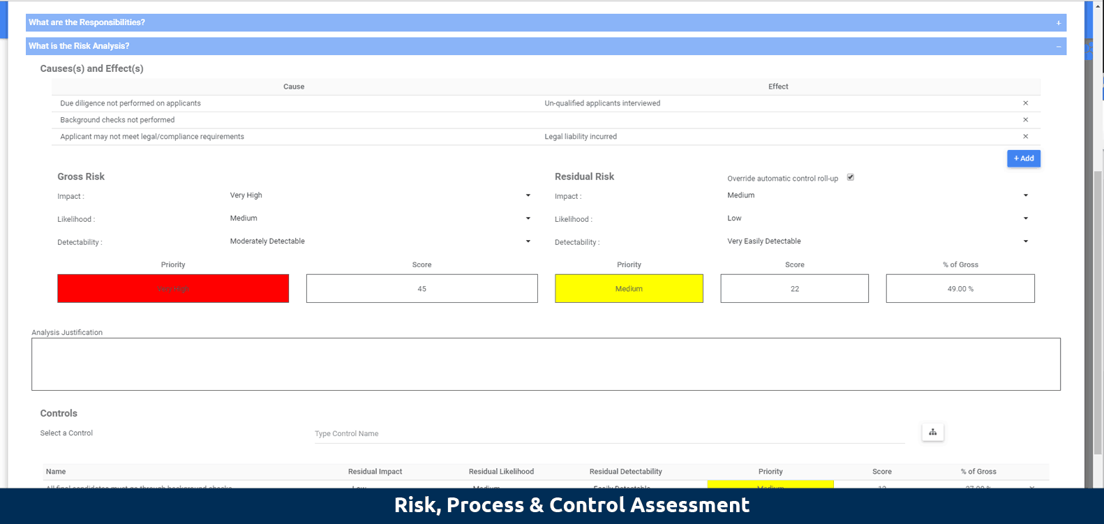Risk, process & control assessment